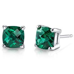 756b02838 14 Karat White Gold Cushion Cut 1.75 Carats Created Emerald Stud Earrings *  For more information · Chanel ...