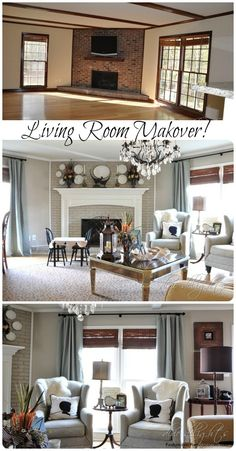 Newly Painted and Decorated Den Before and After - Renovieren My Living Room, Home And Living, Living Room Decor, Home Renovation, Home Remodeling, Bedroom Makeover Before And After, Brick Fireplace Makeover, Fireplace Ideas, D House
