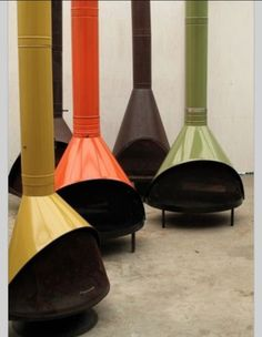 A cluster of amazing colorful Mid Century fireplaces