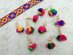 Set of 5 Colourful Beaded Tassels Pom Pom Tassels by Craftise