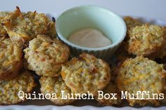 Quinoa Lunch Box Mini Muffins may try this today~am kind of fascinated to find out what they taste like Raw Food Recipes, Vegetarian Recipes, Baking Recipes, Snack Recipes, Healthy Recipes, Lunch Snacks, Healthy Snacks, Lunch Box, Quinoa Muffins
