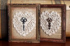 Doilies on old book pages?! Oh, the ideas...