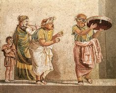 Roman civilization, 2nd century b. C. Mosaic depicting a group of street musicians. From the Villa of Cicero, Pompeii