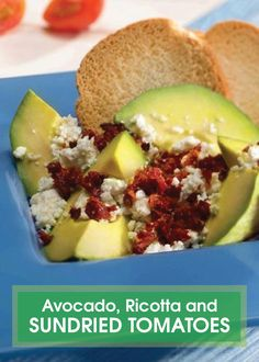 For a quick and easy afternoon snack try Avocado, Ricotta and Sundried Tomatoes. It's a tastier and more flavorful avocado topping than just adding salt and can be eaten as is or piled on toast!