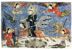 """Allegorical scene of Mohammed riding Buraq during his """"Night Voyage."""" Origin unknown"""