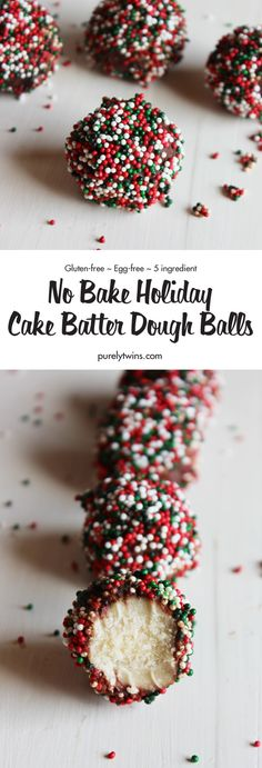 Is there anything better than cake made into a ball covered in chocolate and sprinkles? We have an easy and delicious gluten-free recipe No Bake Holiday Cake Batter Dough balls. Made in minutes. No more waiting for the oven to heat up, or getting your cake balls stuck to a pan.You'll love these NO Bake Holiday Cake Batter Dough Balls and all you need is 5 ingredients plus some sprinkles! They're very quick and easy to make and perfect for a sweet Christmas snack or an edible homemade gift.
