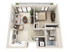 Studio Apartment Floor Plans 3d 50 plans 3d d'appartement avec 2 chambres | bedroom apartment
