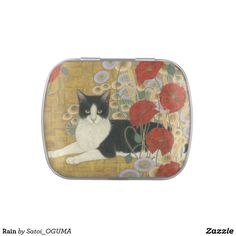 <Rain> Lovely black and white cat and poppies Jelly Belly Tins bySatoi Oguma.