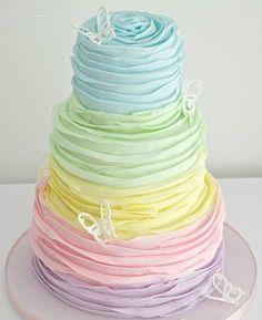 Pastel Rainbow Birthday Cake | Ruffles | Butterflies