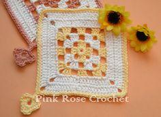 \ PINK ROSE CROCHET /: Quadradinho Bicolor Crochet Granny Square Coaster