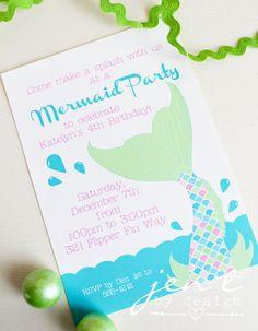 Mermaid Party birthday party invite