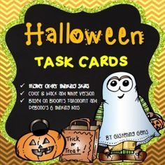 Halloween Task cards: These Halloween Task cards cater for all grades in Primary. These halloween task cards are perfect for: literacy centers or early finishers. There are 20 task cards, available in black and white that is sure to actively engage your students and offer a variety of topics and genres to write about.