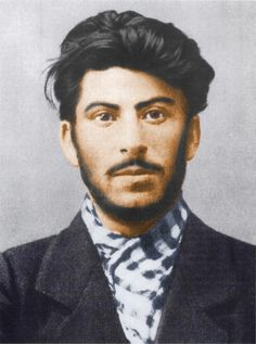 Joseph Stalin as a young revolutionary in 1902. This is a police photograph colorized with modern applications.