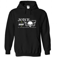 JOYCE Rules - #gift for her #gift for mom. GUARANTEE => https://www.sunfrog.com/Automotive/JOYCE-Rules-nfqxeghroe-Black-47833433-Hoodie.html?68278