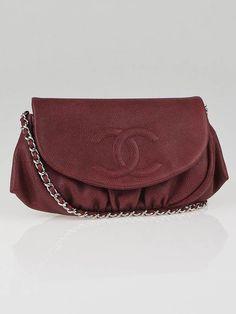 60e674fb5150 Chanel Bordeaux Caviar Leather Half-Moon WOC Clutch Bag  Chanelhandbags  Used Chanel Bags
