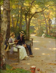 Conversation in the Park (1916). Wilhelm Menzler (German, 1846-1926). Oil on canvas. Menzler was a painter of portraits, genre scenes and of flowers. Active in Munich, he studied with van Lerins and went on to exhibit in Vienna from 1891.