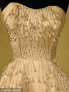 Ceil Chapman Strapless Party Dress, 1950s, Augusta Auctions, May 2008 Vintage Fashion & Antique Textile Sale, Lot 613