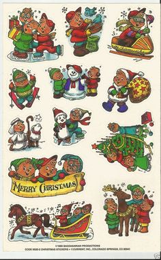 Sheet Sticker Vintage VTG 1985 Alvin and the Chipmunks Cartoon Christmas 80's