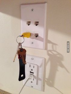 """Wife kept losing her keys, so I made her this key rack."""