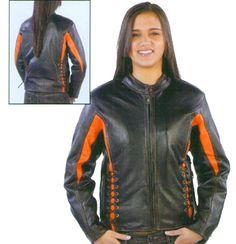Ladies Black and Orange Scooter Jacket