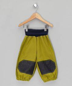 Green Knee-Patch Canvas Joggers - Infant & Toddler by bubble.kid berlin o£15.99