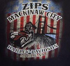 Zips Mackinaw City Harley Davidson T-shirt Large Michigan Black Mens Cotton Tee #HarleyDavidson #GraphicTee