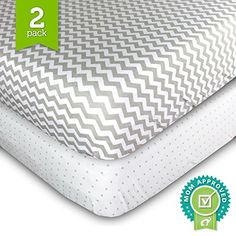 Crib Sheets Set - 2 Pack - Fitted, Soft Jersey Cotton Crib Mattress Sheet - Baby Bedding in Grey Chevron & Polka Dot by Ziggy Baby - Best Baby Shower Gift for Boys, Girls, Unisex Ziggy Baby http://smile.amazon.com/dp/B0143D4UMS/ref=cm_sw_r_pi_dp_kL4wwb1844P9Y