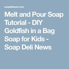 Melt and Pour Soap Tutorial - DIY Goldfish in a Bag Soap for Kids - Soap Deli News