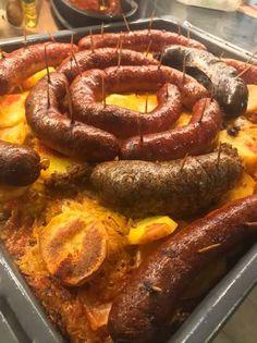 Kaposztás krumpliágyon sült disznótoros Sausage, Food, Sausages, Essen, Meals, Yemek, Eten, Chinese Sausage