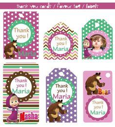 VENTA  regalo etiquetas / favor gracias tarjetas de Masha y