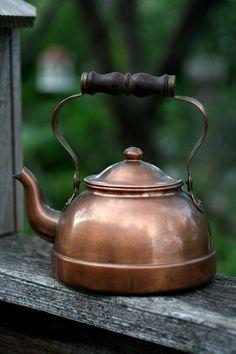 Vintage copper tea kettle Rustic Primitive Tea Kettle by AbateArts