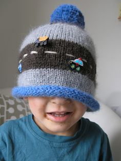 3 colour hat pattern using Mirasol Miski yarn     car version for Hugo who's got a chocolate mouth...