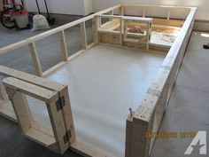 Whelping box with exercise area – custom made Dog Whelping Box, Whelping Puppies, Puppy Kennel, Puppy Playpen, Dog Kennels, Puppy Pens, Dog Kennel Designs, Kennel Ideas, Puppy Room