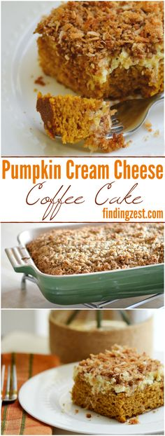 This homemade Pumpkin Cream Cheese Coffee Cake is a great brunch or breakfast for fall, including Thanksgiving! Works great for feeding a crowd.