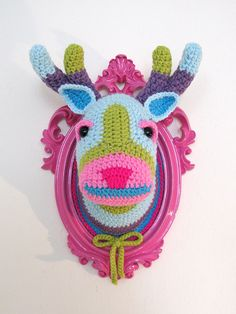 Crochet color block deer head in a pink frame by ManafkaMina, I absolutely adore those animal heads and I'd love to make one myself