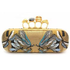 "Alexander Mcqueen ""229282"" Dragonfly Gold Fabric Knuckle Box Long... ($2,075) ❤ liked on Polyvore"