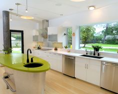 , Eclectic Kitchen With Lime Green Kitchen Appliances Also Modern Kitchen Cabinet With Ellipse Shaped Also Lime Green Countertop Also Black Modern Faucet And Tap Also Blonde Floor Boards Color Also Stainless Cabinet: Fresh Lime Green Kitchen Accessories, Appliances, and Furniture