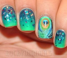 Nail Art Tutorial, Nail Designs, Nail Art How To, Peacock Accent Nail Crazy Nail Designs, Pretty Nail Designs, Nail Art Designs, Diy Nails, Cute Nails, Pretty Nails, Funky Nails, Peacock Nail Art, Peacock Colors