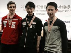 Javier Fernandez(Spain) Yuzuru Hanyu(JAPAN) and Denis Ten(Kazakhstan)