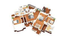 Angled Craftsman House Plan - 36028DK floor plan - Main Level - 3D view