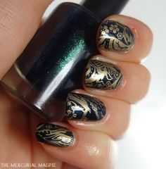 The Mercurial Magpie - Nail Art - ILNP Purgatory Stamped with Moyou London Suki 07 using Maybelline Bold Gold