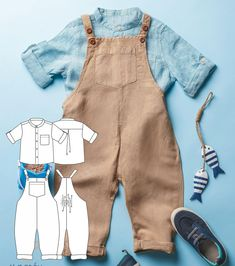 Baby Dungarees Pattern, Baby Boy Overalls, Baby Pants Pattern, T Shirt Sewing Pattern, Boys Sewing Patterns, Baby Romper Pattern Free, Sewing Baby Clothes, Baby Clothes Patterns, Sweat Shirt