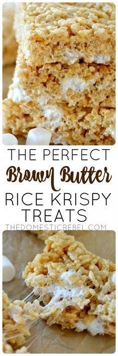 These Brown Butter Rice Krispy Treats are utter perfection! Nutty, buttery, gooey and a hint of vanilla completes this classic dessert recipe!
