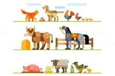 Domestic animals. Stock raising. by TastyVector on Creative Market