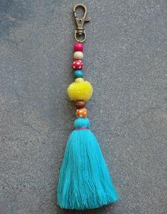 Items similar to Tassel Pom Pom Keychain Bag Charm - Zipper Pull - BOHO Chic - Wooden Beads - Pink Aqua Yellow tassels - Green Red Pompom on Etsy Handmade Keychains, Handmade Jewelry Bracelets, Pom Pom Crafts, Yarn Crafts, Diy Tassel, Tassels, Pom Pom Bag Charm, Macrame Wall Hanging Diy, Small Sewing Projects
