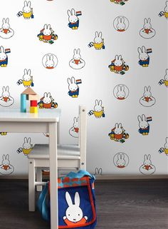 Sweet Miffy Wallpaper & Nijntje Behang! Miffy Wallpaper in Primary Colours, Design Dick Bruna for Graham & Brown, Great for the Nursery!