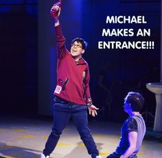 """This is seriously the best thing ever! I love """"Be More Chill"""". Especially the """"Squip Song""""! Theatre Nerds, Musical Theatre, Theater, George Salazar, Michael In The Bathroom, Be More Chill Musical, Michael Mell, Two Player Games, Chill Pill"""