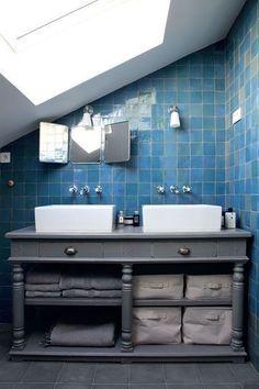 blue tile bathroom + large skylight + gray painted wood vanity with storage Loft Bathroom, Upstairs Bathrooms, Grey Bathrooms, Bathroom Renos, Laundry In Bathroom, Beautiful Bathrooms, Bathroom Ideas, Bathroom Goals, Bathroom Storage