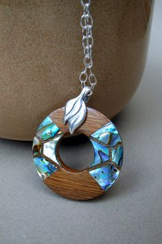 Abalone Inlay Wood Pendant Necklace on by accidentalworkshop, $25.00