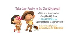 Take Your Family to the Zoo Giveaway 2 Winners each Win a $125 Visa GC - http://www.nighthelper.com/take-family-zoo-giveaway-2-winners-win-125-visa-gc/